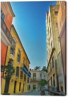 Canvastavla Färgglada fasader i Havanna city