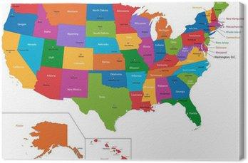 Canvastavla Färgglada karta USA med stater och huvudstäder
