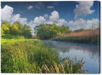 Canvastavla Färgrik fjäder landskap på den dimmiga floden
