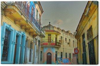 Canvastavla Färgrik, Havanna byggnader