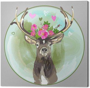 Canvastavla Färgrik huvud av rådjur med blommor