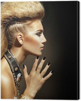 Canvastavla Fashion Rocker Style Model Girl Porträtt. Frisyr