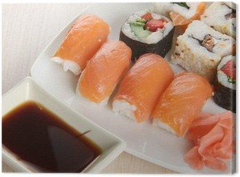 Canvastavla Fisk sushi på trä platta