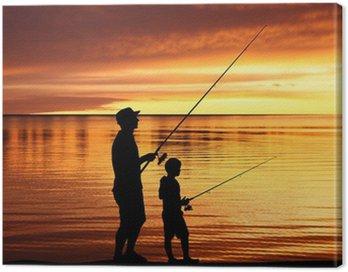 Canvastavla Fiskare silhuetter på soluppgången