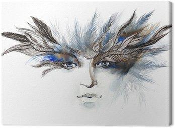 Canvastavla Fjädrar runt ögonen (serie C)
