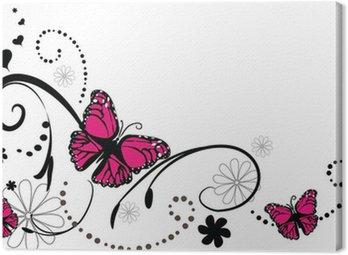 Canvastavla Fjäril bakgrund klotter