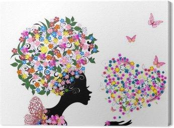 Canvastavla Flicka med blommor på hennes huvud med en valentine