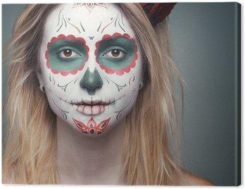 Canvastavla Flicka med en skalle ansikte makeup