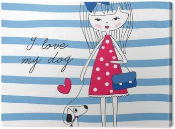 Canvastavla Flicka med hund vektor