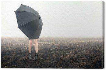 Canvastavla Flicka med paraply på svart fält