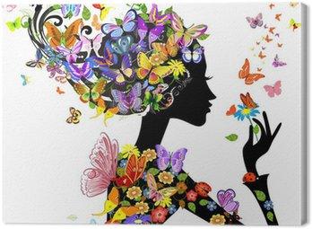 Canvastavla Flicka mode blommor med fjärilar