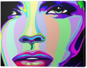 Canvastavla Flicka stående Psychedelic Psychedelic Rainbow-Face Girl