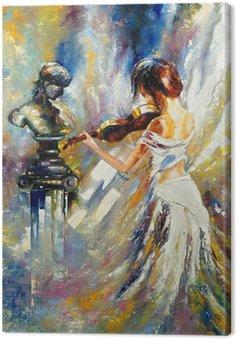Canvastavla Flickan spelar fiol
