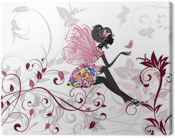 Canvastavla Flower Fairy med fjärilar