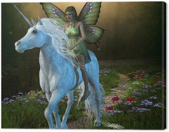 Canvastavla Forest Fairy och Unicorn