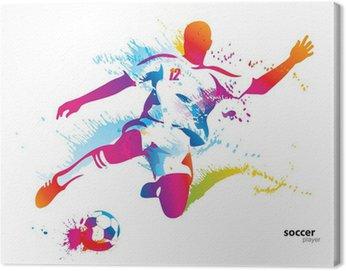 Canvastavla Fotbollsspelare sparkar bollen. Den färgglada vektor illustration
