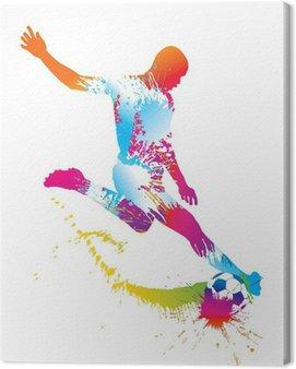 Canvastavla Fotbollsspelare sparkar bollen. Vector illustration.