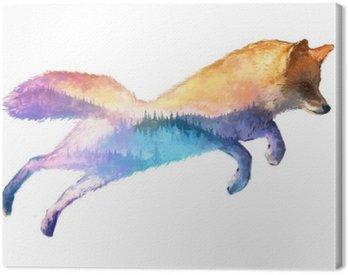 Canvastavla Fox dubbelexponering illustration