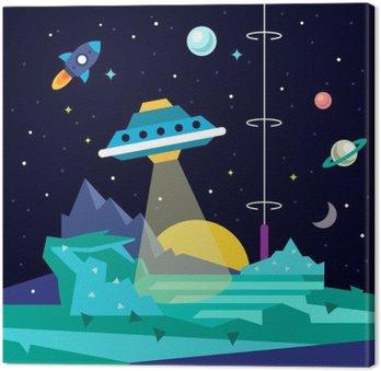 Canvastavla Främmande utrymme planet landskap med ufo