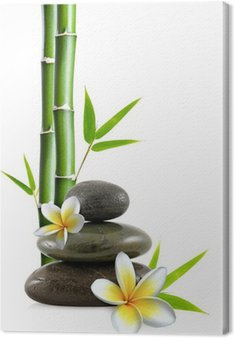 Canvastavla Frangipani blommor, småsten och bambu Zen