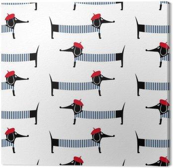 Canvastavla Fransk stil hund seamless. Gullig tecknad parisian tax vektorillustration. Barn ritning stil valp bakgrund. Fransk stil klädd hund med röd basker och randig klänning.
