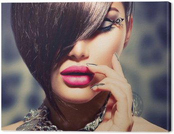Canvastavla Fringe. Skönhet Sexy Model flicka med perfekt makeup och manikyr
