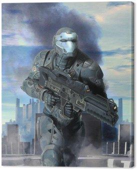 Canvastavla Futuristisk soldat pansar i krig
