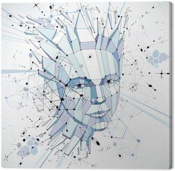 Canvastavla Futuristiska 3d vektor bakgrund gjord med användning av Bauhaus element. hea