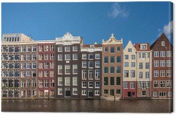 Canvastavla Gamla kanalhus i den holländska huvudstaden Amsterdam