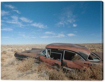 Canvastavla Gamla rostiga bil mitt i New Mexico öknen