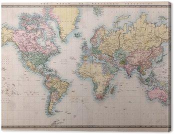 Canvastavla Gammal antik världskarta på Mercators Projection