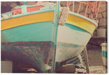 Canvastavla Gammal båt, abstrakt vintage bakgrund - intryck av Grekland