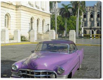 Canvastavla Gammal bil framför Capitol Building, Gamla Havanna, Kuba