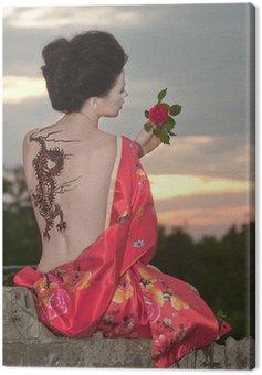 Canvastavla Geisha med dragon tattoo vid solnedgången