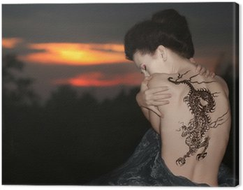 Canvastavla Geisha med dragon tattoo