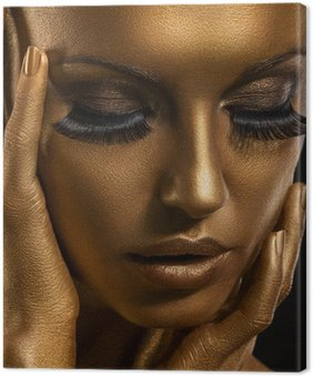 Canvastavla Gilt. Golden Kvinnans ansikte. Giled Make-up. Painted Skin