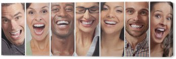Canvastavla Glada människor ansikten uppsättning