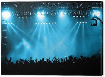 Canvastavla Glädjande folkmassa på konsert, musiker på scenen