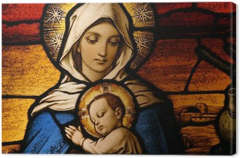 Canvastavla Glasmålningar föreställande Jungfru Maria som håller Jesusbarnet