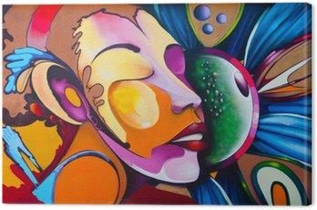 Canvastavla Graffiti ansikte