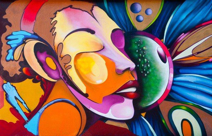 Canvastavla Graffiti ansikte -