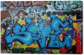 Canvastavla Graffiti detalj på texturtegelvägg