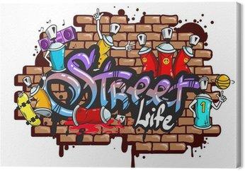 Canvastavla Graffiti ordtecken komposition