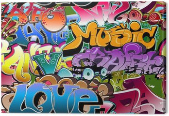 Canvastavla Graffiti sömlös bakgrund. Hip-hop konst
