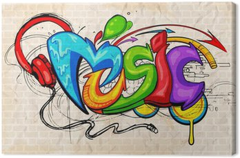 Canvastavla Graffiti stil Musik bakgrund