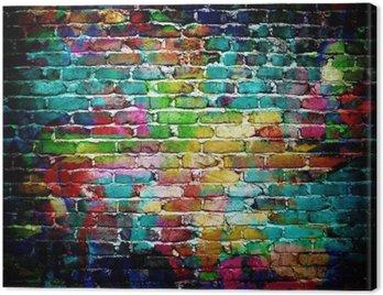 Canvastavla Graffiti tegelvägg