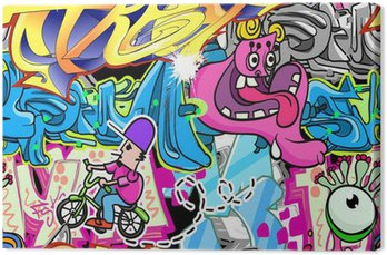 Canvastavla Graffiti Urban Art Vektor Bakgrund