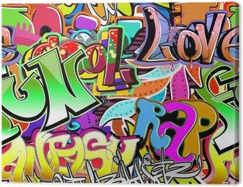 Canvastavla Graffiti vägg. Urban art vektor bakgrund. Sömlös mönster