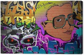 Canvastavla Graffiti vägg urban konst bakgrund. Grunge hiphop konstruktion