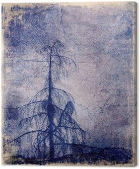 Canvastavla Grunge bakgrund med lärk träd